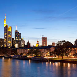 Buildings at the waterfront, Main River, Frankfurt, Hesse, Germany