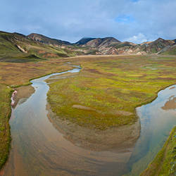 River with mountains in the background, Rhyolite Mountains, Landmannalaugar, Iceland