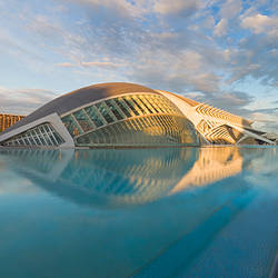 Museum at the waterfront, L'Hemisferic Planetarium, City Of The Arts And The Sciences, Valencia, Spain