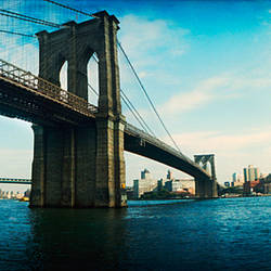 Bridge across a river, Brooklyn Bridge, East River, Brooklyn, New York City, New York State, USA