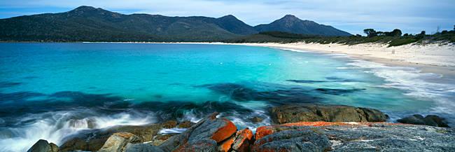 Rock formations on the beach, Wine Glass Beach, Freycinet National Park, Tasmania, Australia