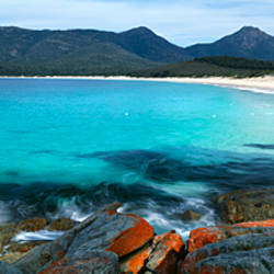 Rock formations on the beach, Wine Glass Beach, Freycinet National Park, Tasmania, Australia