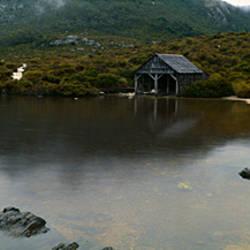Reflection of mountains in a lake, Dove Lake, Cradle Mountain, Lake St. Clair National Park, Tasmania, Australia