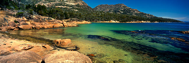 Rocks on the coast, Honeymoon Bay, Freycinet Peninsula, Freycinet National Park, Tasmania, Australia