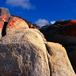 Red rocks on the beach, Swimcart Beach, Bay of Fires National Park, Tasmania, Australia