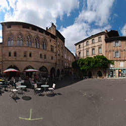 360 degree view of a city, Place Champollion, Figeac, Lot, France