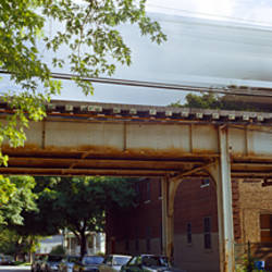 Elevated train on a bridge, Ravenswood neighborhood, Chicago, Illinois, USA