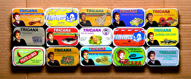 Canned fish at a market stall, Lisbon, Portugal