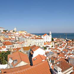 High angle view of a city, Sao Vicente da Fora, Largo das Portas do Sol, Alfama, Lisbon, Portugal
