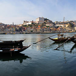 Boats in a river, Dom Luis I Bridge, Duoro River, Porto, Portugal