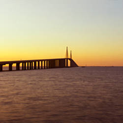 Bridge at sunrise, Sunshine Skyway Bridge, Tampa Bay, St. Petersburg, Pinellas County, Florida, USA
