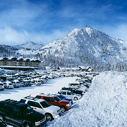 Snow covered cars in a parking lot, Squaw Valley Ski Resort, Lake Tahoe, Olympic Valley, Placer County, California, USA
