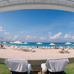 Beach viewed through a hotel, The Ritz-Carlton, Seven Mile Beach, Grand Cayman, Cayman Islands