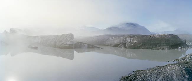Fog over a lake, Bear Glacier Lake, Kenai Fjords National Park, Alaska, USA