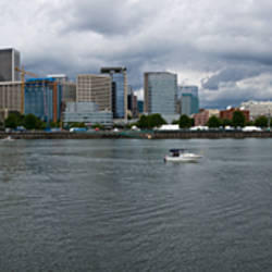 Skyline as seen from the Vera Katz Eastbank Esplanade, Willamette River, Portland, Multnomah County, Oregon, USA