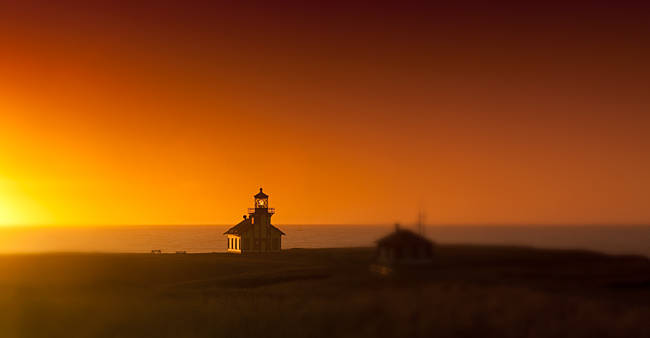 Silhouette of a lighthouse at sunset, Point Cabrillo Light, Fort Bragg, Mendocino County, California, USA