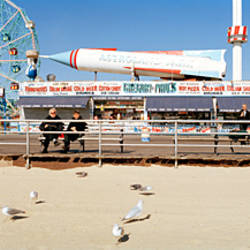 Tourists at an amusement park, Coney Island, Brooklyn, New York City, New York State, USA