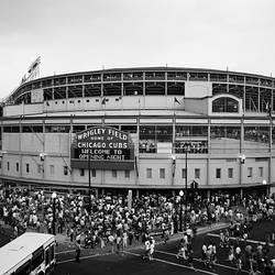 High Angle View Of Tourists Outside A Baseball Stadium At Opening Night Wrigley Field