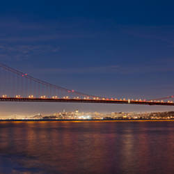 Suspension bridge at dusk, Golden Gate Bridge, San Francisco, California, USA
