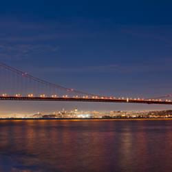 Suspension bridge at dusk, Golden Gate Bridge, San Francisco, California, USA