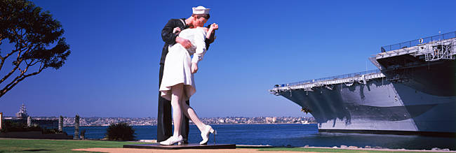 The Kiss between a sailor and a nurse sculpture, Unconditional Surrender, San Diego Aircraft Carrier Museum, San Diego, California, USA