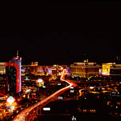 City lit up at night, Las Vegas, Nevada, USA 2010