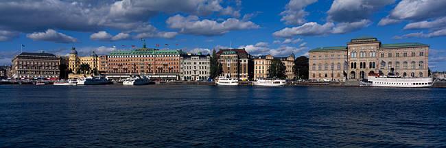 Buildings at the waterfront, Grand Hotel, Blasieholmen, Gamla Stan, Stockholm, Sweden