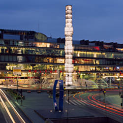 Buildings lit up at night, Sergels Torg, Stockholm, Sweden