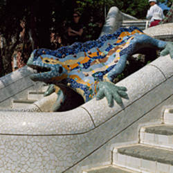 Ceramic dragon sculpture at the entrance of a building, Parc Guell, Barcelona, Catalonia, Spain