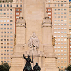 Monument in front of a building, Miguel De Cervantes Monument, Plaza De Espana, Madrid, Spain