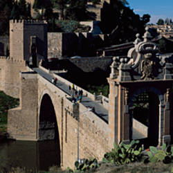 Bridge across a river, Alcantara Bridge, Tagus River, Toledo, Spain