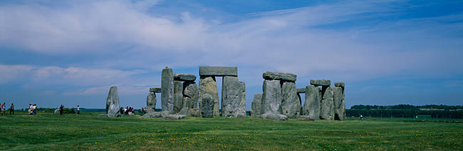 Standing stones on a landscape, Stonehenge, Wiltshire, England