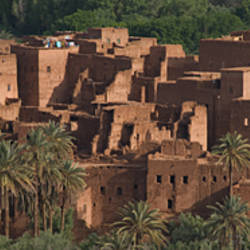Panoramic view of the Kasbah of Tinerhir in disrepair, Morocco.
