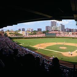 High angle view of a baseball stadium, Wrigley Field, Chicago, Illinois, USA