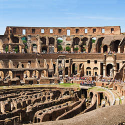 Interiors of an amphitheater, Coliseum, Rome, Lazio, Italy