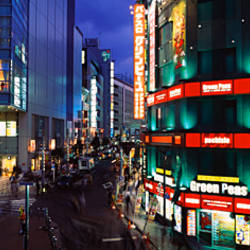 Buildings lit up at night, Shinjuku Ward, Tokyo Prefecture, Kanto Region, Japan