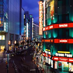Buildings lit up at night, Shinjuku Ward, Tokyo Prefecture, Kanto Region, Japan