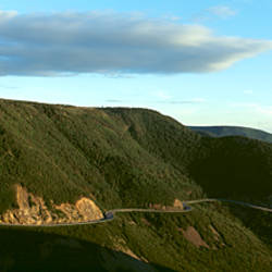 Windy road on mountain, Cabot Trail, Cape Breton Island, Nova Scotia, Canada