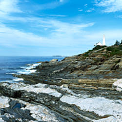 Lighthouse at the seaside, Pemaquid Point Lighthouse, Pemaquid Point, Bristol, Maine, USA