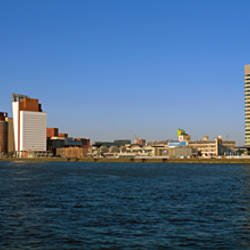 Buildings at the waterfront, Erasmus Bridge, Meuse River, Rotterdam, Netherlands