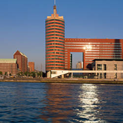 Buildings at the waterfront, Wilhelmina Pier, Meuse River, Rotterdam, Netherlands