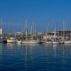 Boats at a harbor, Port Vell, Barcelona, Catalonia, Spain