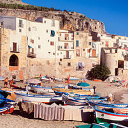 Boats on the beach, Cefalu, Palermo Province, Sicily, Italy