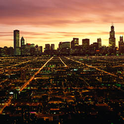 CGI composite, High angle view of a city at night, Chicago, Cook County, Illinois, USA