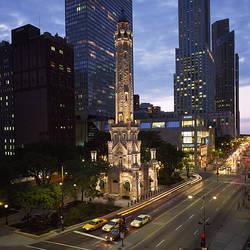 Water tower and skyscrapers in a city, Michigan Avenue, Chicago, Cook County, Illinois, USA
