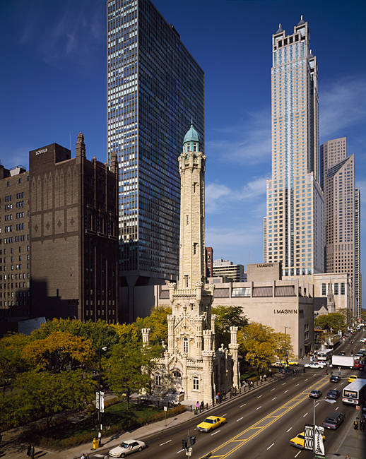 High angle view of a water tower and skyscrapers in a city, Michigan Avenue, Chicago, Cook County, Illinois, USA