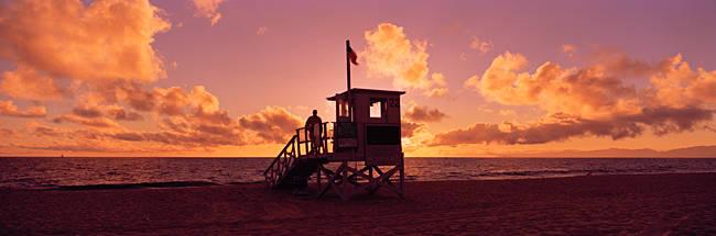 Lifeguard hut on the beach, 22nd St. Lifeguard Station, Redondo Beach, Los Angeles County, California, USA