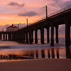Low angle view of a hut on a pier, Manhattan Beach Pier, Manhattan Beach, Los Angeles County, California, USA