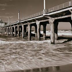 Low angle view of a pier, Manhattan Beach Pier, Manhattan Beach, Los Angeles County, California, USA