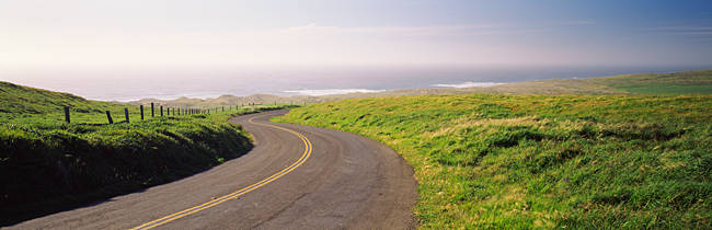 Road along the coast, Point Reyes National Seashore, Point Reyes, Marin County, California, USA